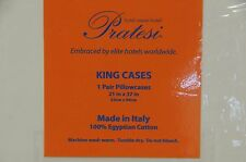 NEW PRATESI Ivory Beige Classico Sweet Hotel KING Case 1 PAIR Pillowcases Embroi