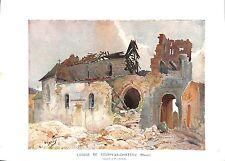 WWI Ruines Eglise Louppy-le-Château Aquarelle de Pierre Vignal A ILLUSTRATION