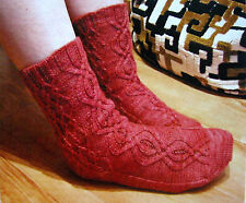 BURIED TREASURE SOCKS by SIVIA HARDING - CABLED & BEADED - KNIT PATTERN LEAFLET