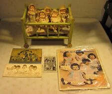 "Antique 1930's Effanbee Baby Tinyette Set Of 5 Dionne Quintuplets 7"" Dolls USA"