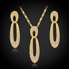18ct Gold Plated Swarovski Elements Rhinestone Jewellery Set Necklace Earrings
