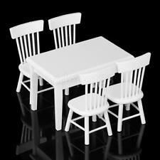 Dollhouse Miniature Dining Room Furniture Classic Wooden Table 4 Chairs Set