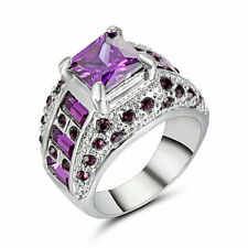 Purple Amethyst White CZ Womens 10Kt White Gold Filled Engagement Ring Size 8