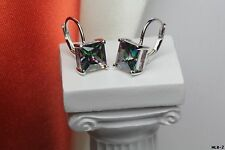 Womens Princes Cut Sterling Silver Mystic Rainbow Fire Topaz Lever Back Earrings