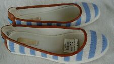 Nine West Woman's Loafers canvas SZ 7 Blue, Beige & Brown Trim  New
