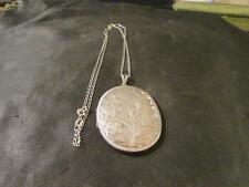 Beautiful Vintage Quality Large Solid Silver Locket & Silver Chain,Birm,1974