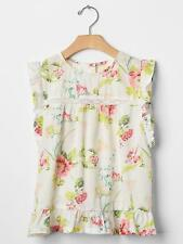 NWT New Gap Kids Girl Floral Lace-Trim Flutter Top XL 12 Off White