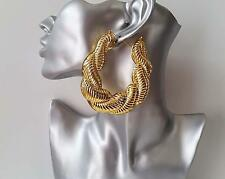 Gorgeous HUGE gold tone chunky twisted oversized style creole hoop earrings,