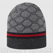 GUCCI charcoal gray GG blue/red WEB Cashmere blend knit BEANIE SKI hat NWT Auth