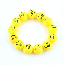 Yellow Emoji Cartoon Face Bracelet Acrylic Beads Stretch Charm Children Jewelry
