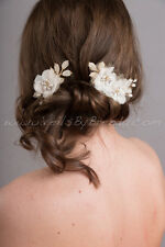 Hand Created by VeilsByBrenda.com Ivory and Gold Bridal Hair Comb - Winona