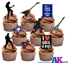 Guitarra Rock And Roll Party Pack 36 Comestibles Stand Up Cup Cake Toppers Decoración