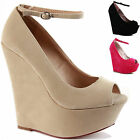 NEW WOMENS LADIES CHUNKY SUMMER MID HIGH HEELS WEDGE PLATFORM SANDALS SHOES SIZE