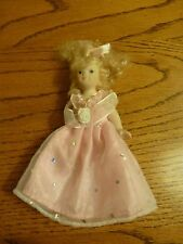 """Vintage Small All Porcelain Dolls Lace Dress Sequins Gown Curly Hair 5"""""""