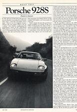 1985 Porsche 928S - Road Test - Classic Print Article D27-J0627