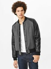 NWT GAP MEN'S LEATHER SLEEVE BASEBALL JACKET, Black/Grey Heather SIZE XS