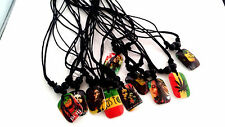 new 20pcs mixed lot Bob Marley Rasta Reggae resin pendant rope chain necklaces