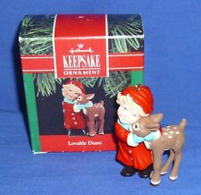 Hallmark Christmas Ornament Lovable Dears 1990 Girl Hugging Deer Fawn Used