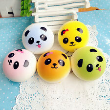 2 Pcs Panda Squishy Charm Soft Buns Cell Phone Key Chain Bread Straps