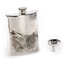 Leaping Salmon Angler's 6oz Hip Flask Presentation Box Set with Funnel