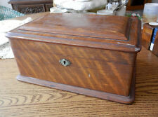 antique English quarter sawn oak poker chip box with chips