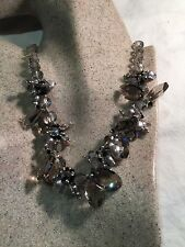Gray Baroque Freshwater Real Pearl 925 Sterling Silver Austrian Crystal Necklace