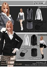 CC142 1/6 Clothing- DOLLSFIGURE Black Secretary Suit Full Set for Female Body
