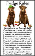 "Labrador Chocolate Dog Gift - Large Fridge Rules flexible Magnet 6"" x 4"""