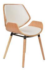 1x Design Club Stuhl Esstisch Küchen Esszimmer Stuhl Sitz in Weiß + Holz NEU