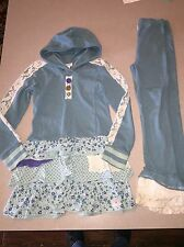NAARTJIE LACEY DROP HOODED DRESS TUNIC & LACE BOTTOM PANTS SIZE 8