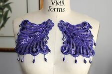 Bead Sequin EPAULETTE Mirror Image Applique (2 pc set) - PURPLE *WOW*