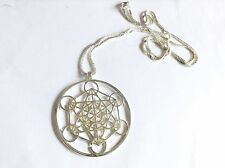 Gorgeous Metatrons Cube Silver Plated Sacred Geometry Pendant 45mm Ethnic
