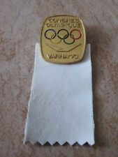 1973 VARNA OLYMPIC  CONGRESS IOC GUEST with WHITE LEATHER RIBBON badge  pin