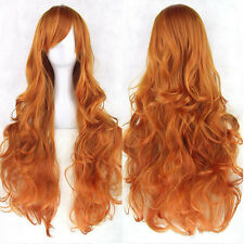Fashion Full Wig Anime Long Curly Wavy Synthetic Hair Party Cosplay Use Orange