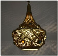Unique Handcrafted Moroccan Brass Jeweled Hanging Lamp Lantern