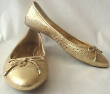BCBG GENERATION GOLD LEATHER LOOK WALLEE STUDDED BALLET FLATS SZ 41 - 11M EUC