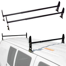 Van Ladder Rack Roof 500 LB 2 Bars Contractor Chevy Dodge Ford GM Express Black
