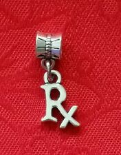 "RX ANTIQUE SILVER CHARM-PHARMACY-W/EUROPEAN BAIL-1/2""H X 3/8""-UNBRANDED-ALLOY"