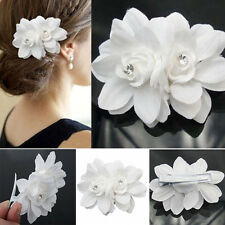 Double Orchid Flower Crystal Hair Clip Hairpin Barrette Women Bridal Accessories