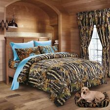 7PC QUEEN SET BLACK CAMO COMFORTER WITH POWDER BLUE SHEET SET WOODS BEDDING