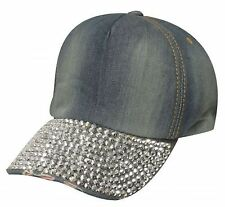 Showman Couture Blue Bling Denim Baseball Hat with Crystal Rhinestone Bill