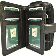 Ladies Purse Wallet Black Soft Leather Quality Visconti New in Gift Box (HT33)