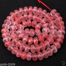 "Beautiful 5x8mm Faceted Watermelon Tourmaline Gemstone Abacus Loose Beads 15""AAA"