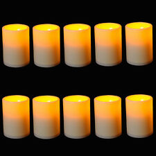 30x Flickering Flameless Resin Pillar LED Candle Light w/Timer for Wedding Party