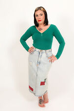 80s vintage high waist GITANO denim skirt - acid wash patchwork denim skirt