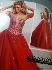 Mori Lee 95029 Red Tulle Dress With Beading