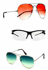 Tri Color Combo Of 2 Aviators And 1 Transparent Sporty Eyewear