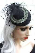 Black Veil Green Vintage Mini Hat 1950S Pinup Style Rockabilly Races Funeral