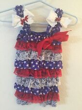 Baby Petti Ruffle Romper Patriotic 4th Of July  3-6 M And MatchIng Hair Bow Set