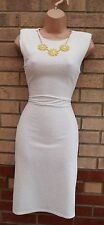 PRIMARK WHITE QUILTED FEEL BEADED FLORAL CHAINS PENCIL BANDAGE TUBE DRESS 10 S